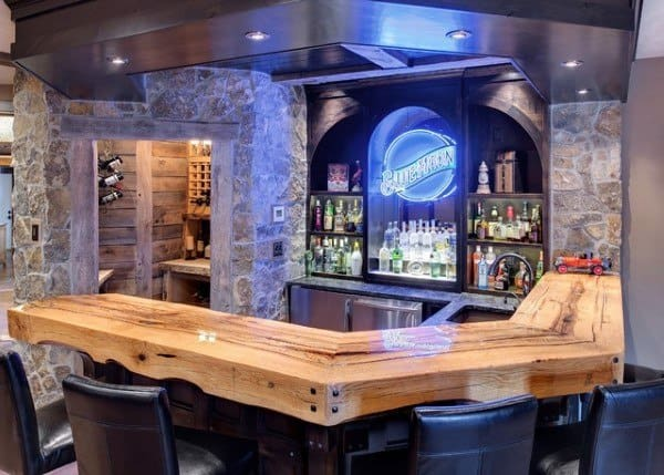 Epoxy Natural Wood Bar Top Ideas