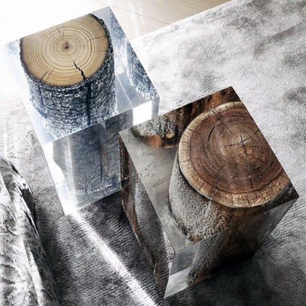 Epoxy Tree Logs Man Cave Decor