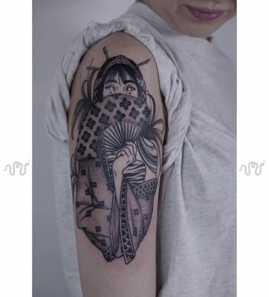 Equilattera Black Work Line Geisha Tattoo