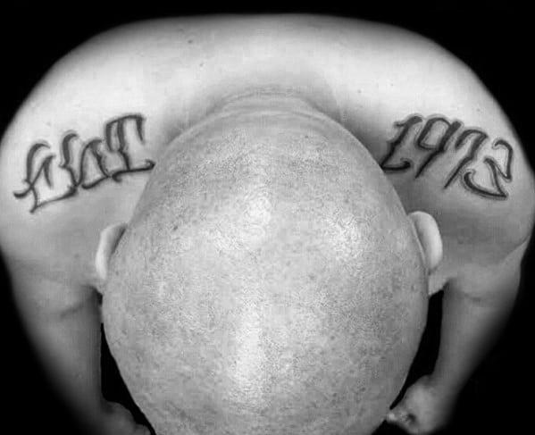 Est 1973 Mens Shoulder Tattoo Designs