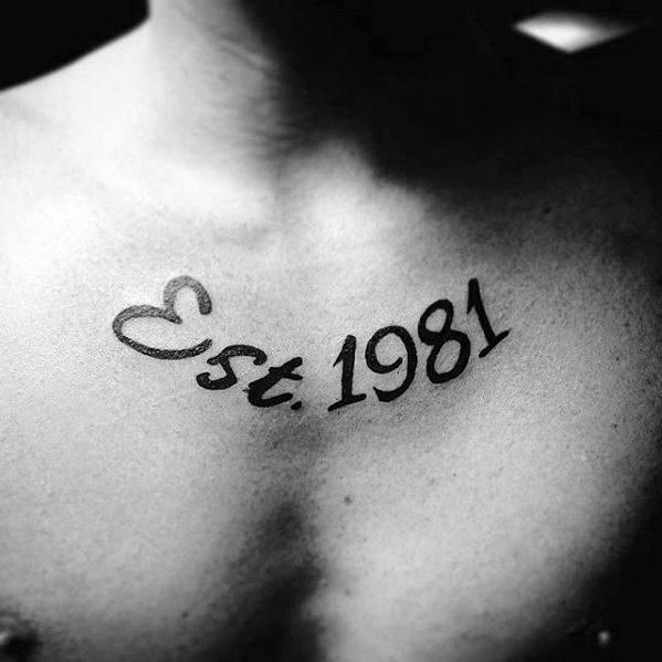 Est 1981 Guys Chest Simple Tattoo Designs
