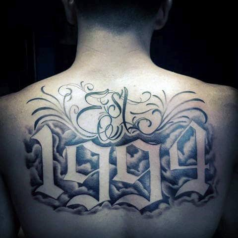 Est 1994 Old English Guys Back Tattoo