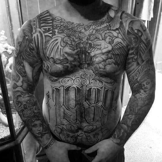 Established Date Chicano Mens Angel Full Chest Tattoo