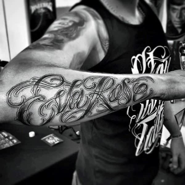 90 Script Tattoos For Men - Cursive Ink Design Ideas