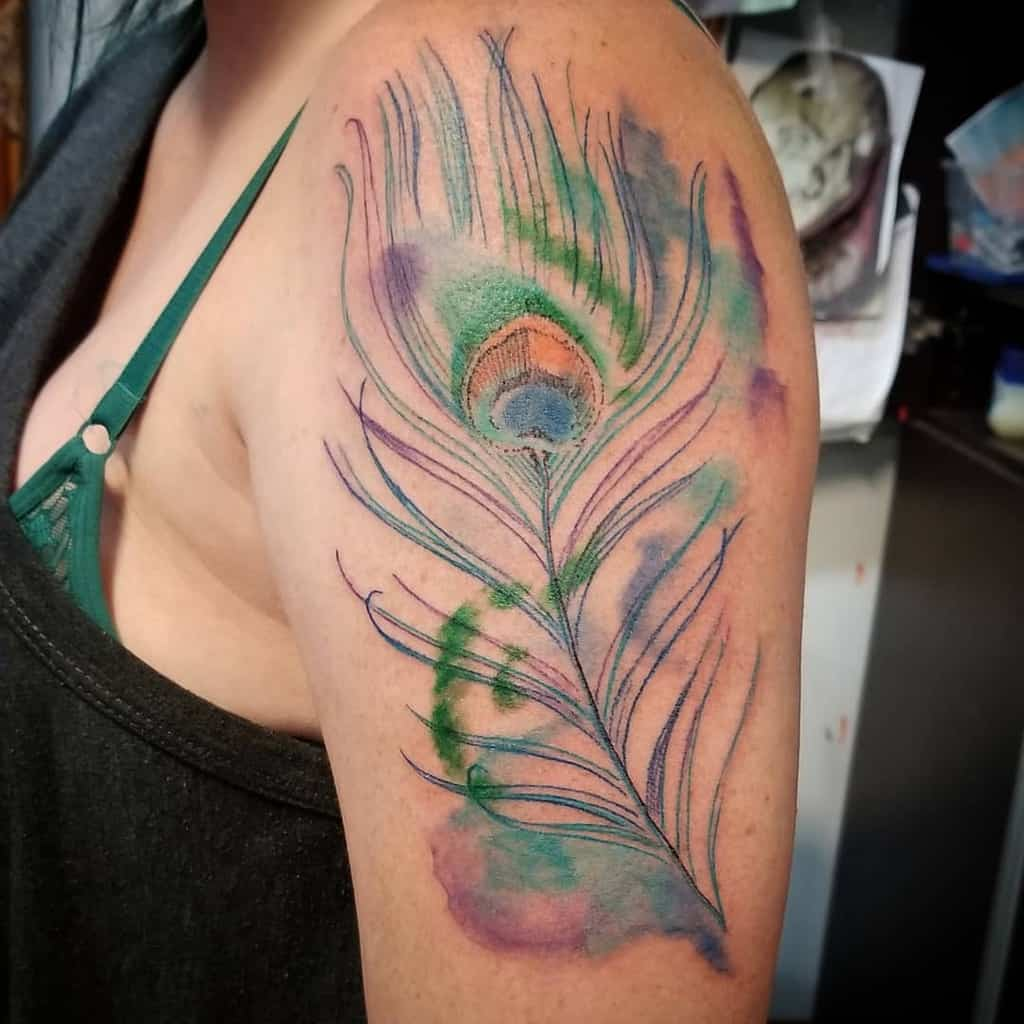 Eternal Color Peacock Feather Tattoo