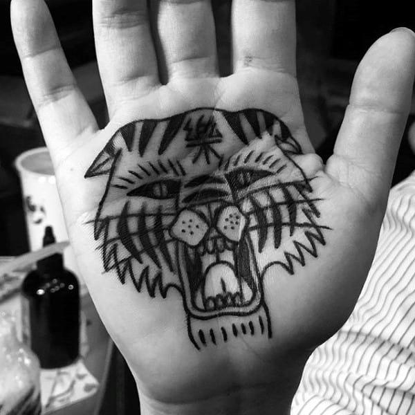 Ethnic Beast Head Tattoo Male Palm