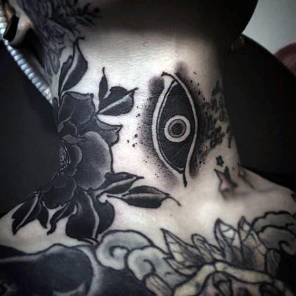 Ethnic Black Eye Tattoo Mens Neck