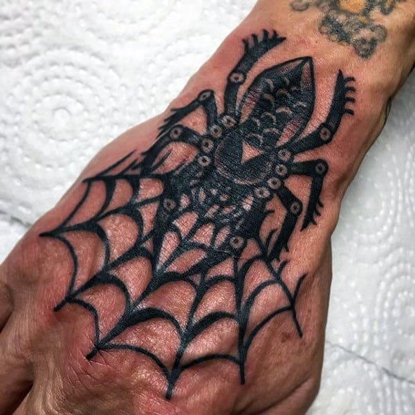 Ethnic Black Spider Tattoo On Hands For Men