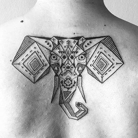Ethnic Geometric Designed Elephant Tattoo Males Back