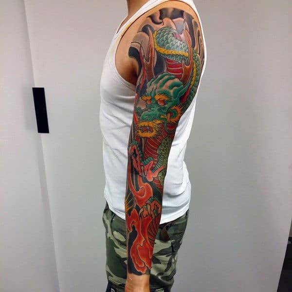 Ethnic Green Dragon Tattoo Male Sleeves