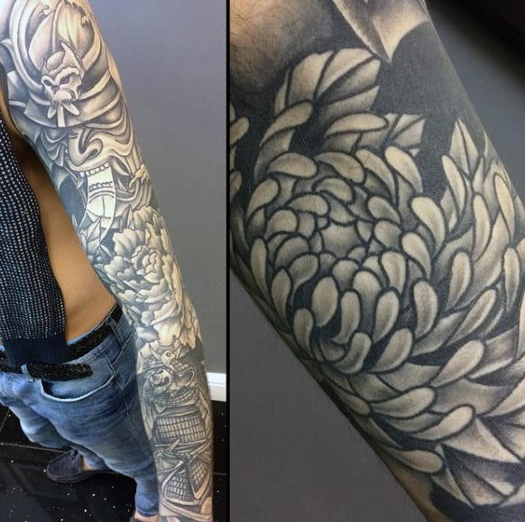Ethnic Warrior Tattoo With Detailed Floral Designs Guys Sleeves