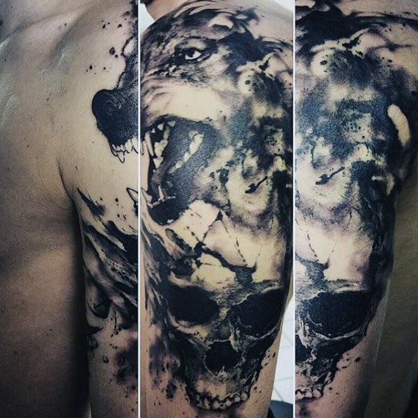 Evil Beast And Skull Watercolor Tattoo For Guys On Arms