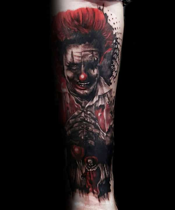Evil Clown Red And Black Ink Mens Trash Polka Forearm Tattoos