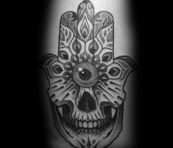 Evil Eye Hamsa With Skull Mens Cool Arm Tattoos