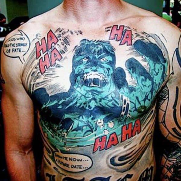 Evil Grinning Hulk Tattoo Male Torso