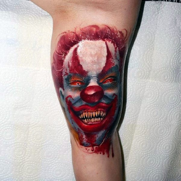 Evil Mens Scary Clown Inner Arm Bicep Tattoos
