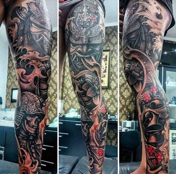 evil-samurai-mask-and-skull-warrior-full-sleeve-tattoo-for-guys