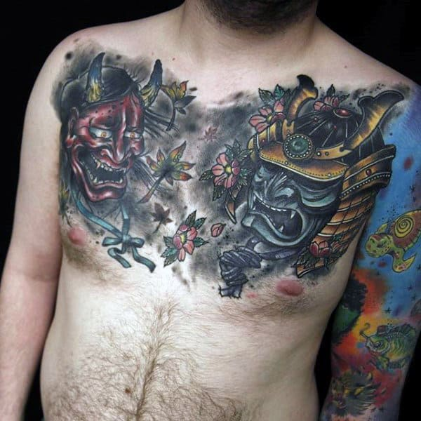 Evil Samurai Masks And Flowers Chest Tattoo For Men