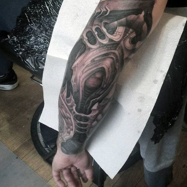 Evil Themed Mens Elbow Tattoo Sleeve