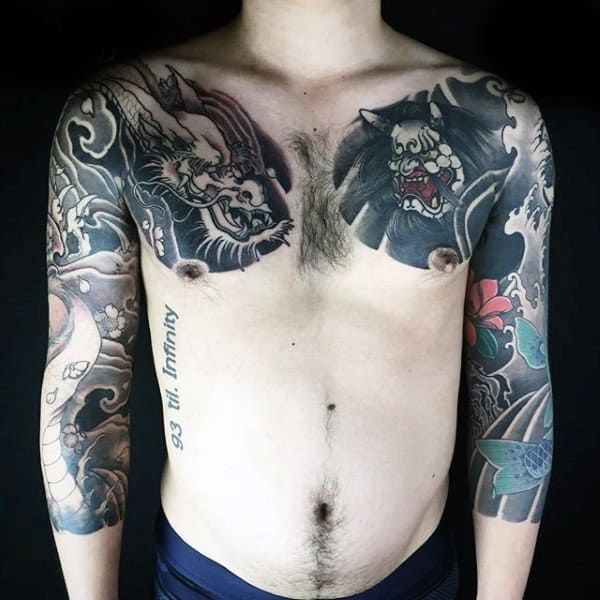 Evil War Between Dragons Tattoo Male Sleeves