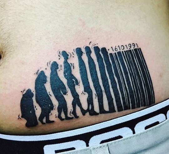 Evolution Barcode Mens Tattoo On Stomach