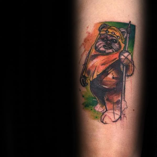 Ewok Tattoo Design On Man