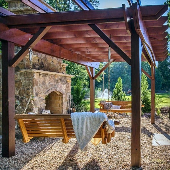 Excellent Backyard Ideas Covered Gravel Patio Pergola With Hanging Chairs