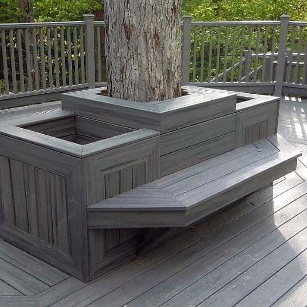 Excellent Backyard Ideas Deck Bench Built Around Tree