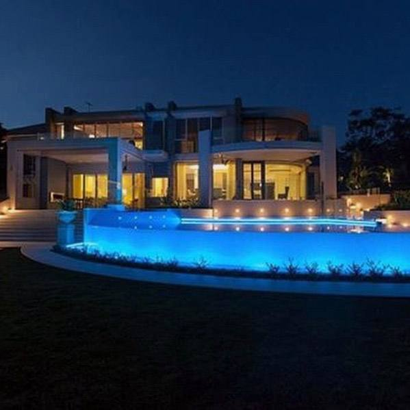 Excellent Backyard Ideas Giant Infinity Edge Pool Lighting