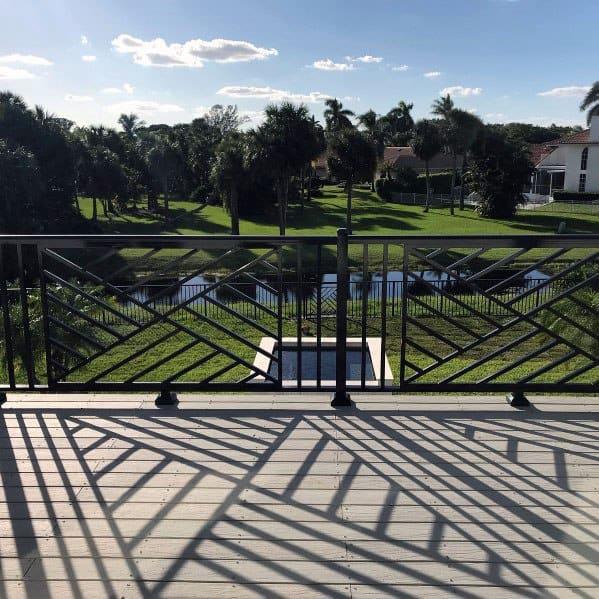 Excellent Backyard Ideas Metal Pattern Deck Railing