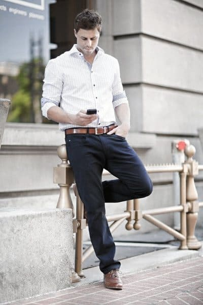 Excellent Casual Wear Styles For Men White Dress Shirt With Navy Dress Pants