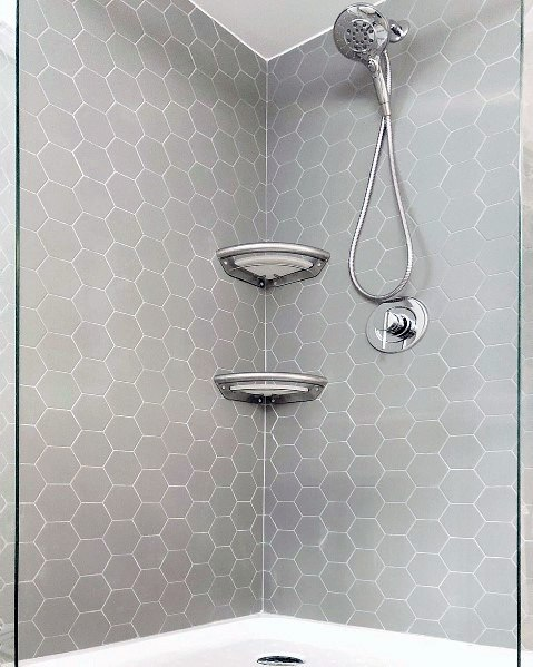 Excellent Grey Hexagon Small Tiles Bathroom Ideas Corner Shower