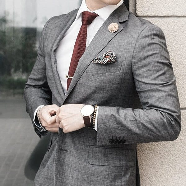 Excellent Grey Suit Styles For Men With Burgundy Tie