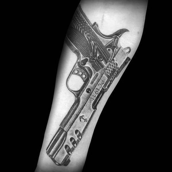Excellent Guys 1911 Tattoos Inner Forearm
