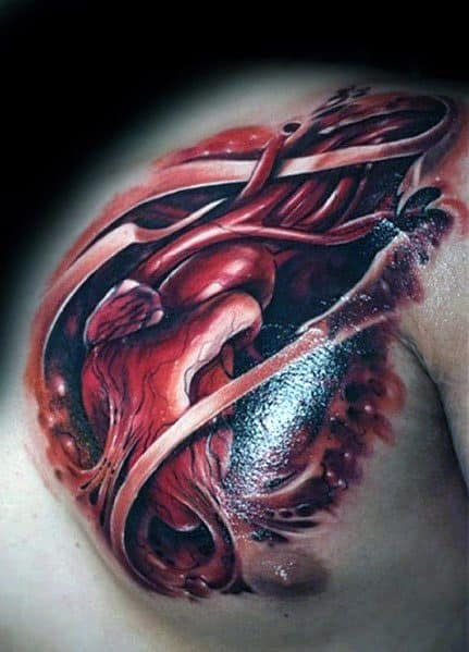 Excellent Guys 3d Heart Tattoos Chest