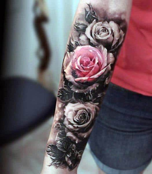 Men S Floral Tattoo: 50 Badass Rose Tattoos For Men