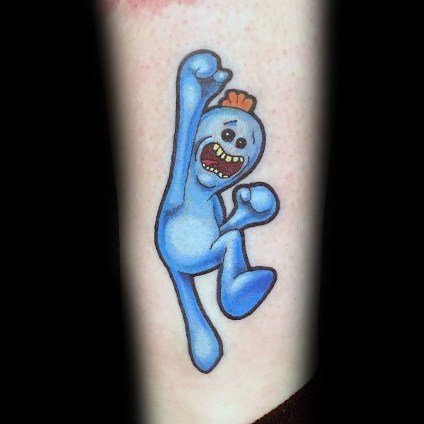 Excellent Guys Blue Jumping Mr Meeseeks Tattoos