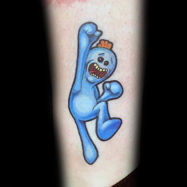 Excellent Guys Blue Jumping Mr Meeseeks Tattoos