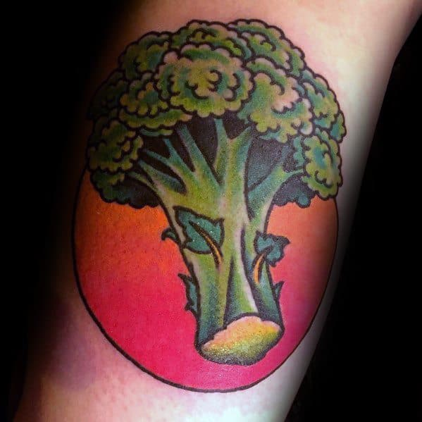 Excellent Guys Broccoli Tattoos With Red Sun Design