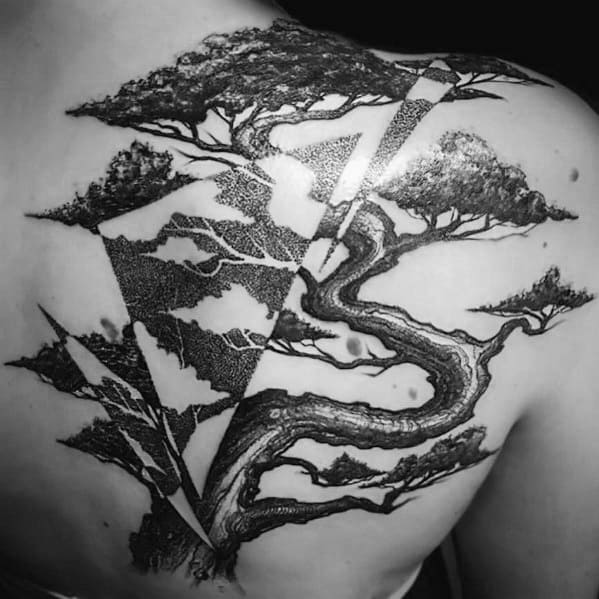 Excellent Guys Cool Tree Tattoos On Shoulder And Back