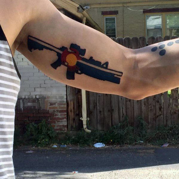 Excellent Guys Inner Arm Bicep Colorado Themed Ar 15 Tattoos