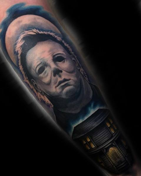 Excellent Guys Michael Myers Tattoos On Leg