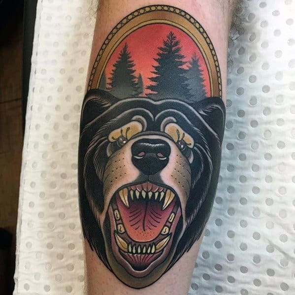 Excellent Guys Neo Traditional Bear Tattoos