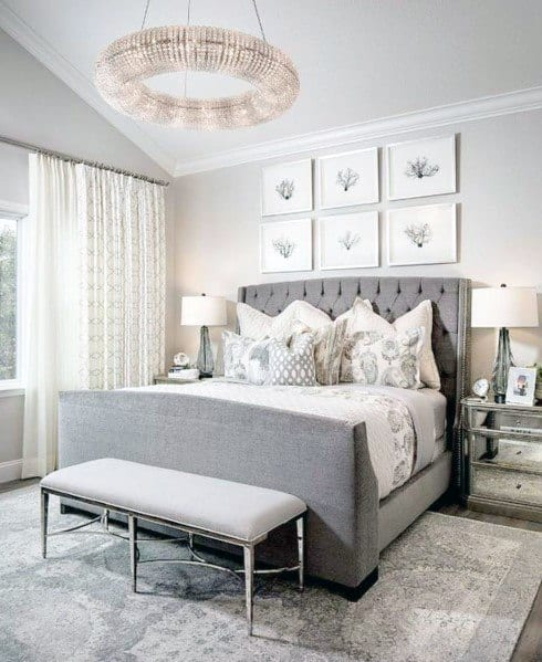 Excellent Interior Ideas Bedroom Lighting Round Crystal Chandelier