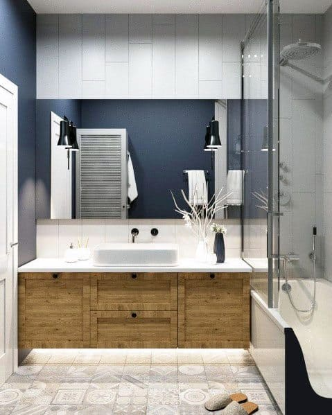 Excellent Interior Ideas Blue Bathroom With Wood Vanity
