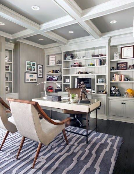 Excellent Interior Ideas Coffered Ceiling For Home Office