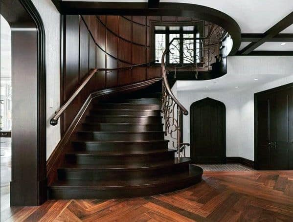 Excellent Interior Ideas Dark Stained Wood Stairs