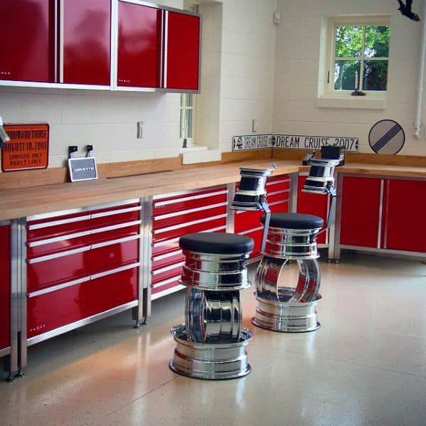 Excellent Interior Ideas Garage Cabinet Red With Wood Countertop