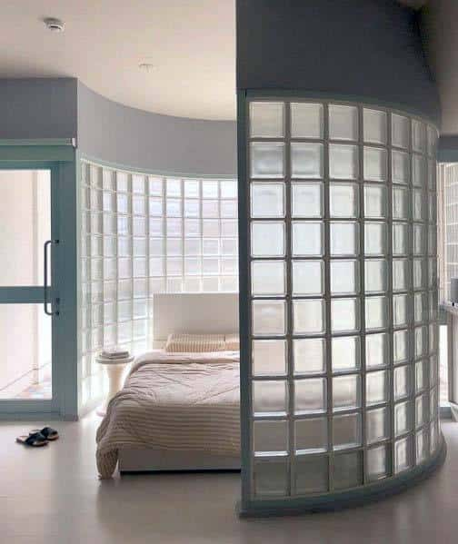 Excellent Interior Ideas Glass Block Bedroom Divider Wall