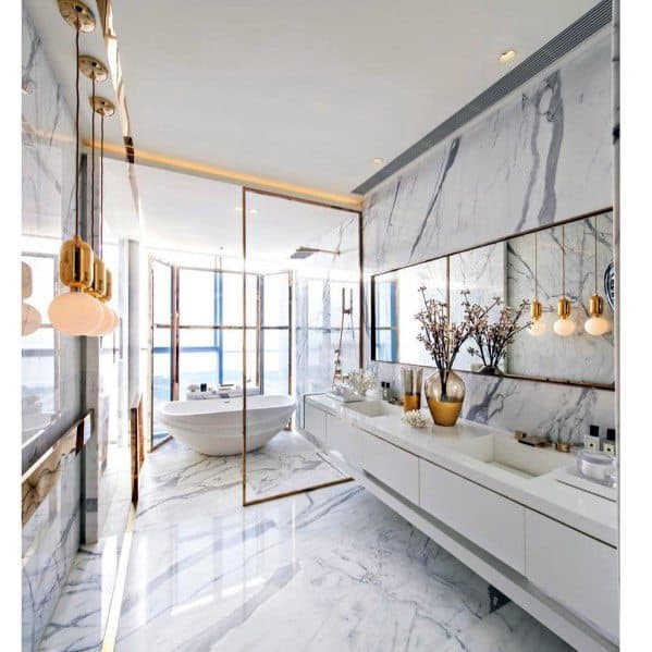 Excellent Interior Ideas Gold And White Bathroom With Marble